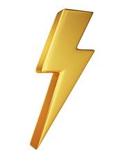Golden Lightning Symbol on White Background