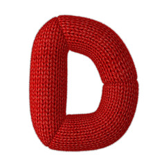 Letter D Made of Wool Knit isolated on White Background