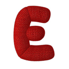 Letter E Made of Wool Knit Isolated on White Background