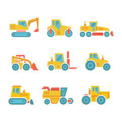Set modern flat icons of tractors, farm and buildings machines