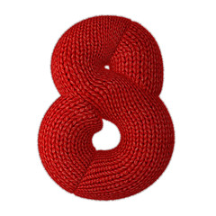 Number Eight Made of Wool Knit Isolated on White Background