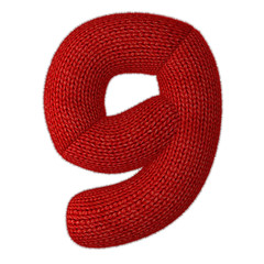 Number Nine Made of Wool Knit Isolated on White Background