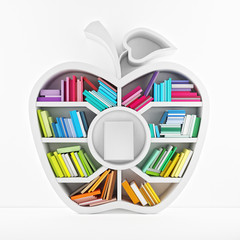 Apple of Knowledge, White Shelf with Multicolor Books Isolated