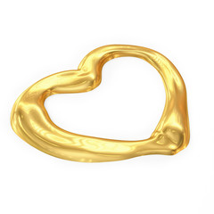 Heart Shaped Gold Isolated on White background