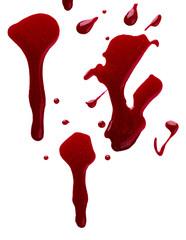 Splash of red nail polish isolated on white background