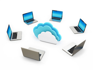 Concept Cloud Connection Laptops on White Background