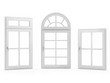 Closed Windows on White Background