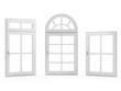 Closed Windows on White Background