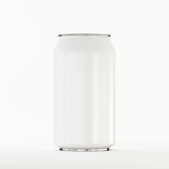 Metal Aluminum Can White with Reflection on White Background