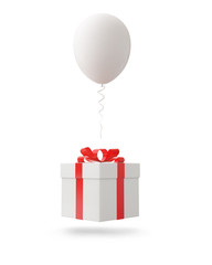 White balloon with gift box on white background