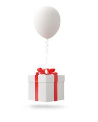 White balloon with gift box on white background