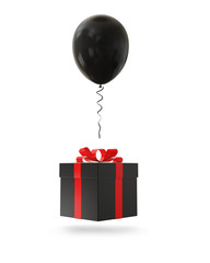 Black balloon with gift box on white background