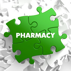 Pharmacy - Concept on Green Puzzle.
