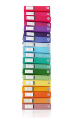 Multicolor Office Folder File Vertical Composition Isolated