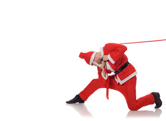Santa Claus pull red ribbon