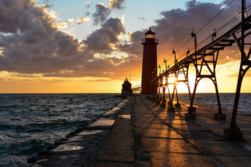 grand haven lighthouse in the sunset
