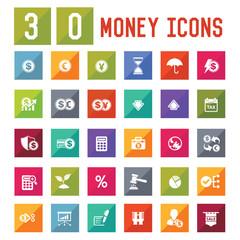 30 Money Icon set on white background,vector
