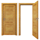 Fototapety Closed and Open Wooden doors Isolated on White Background