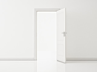 Open White Door on White Wall, Illustration