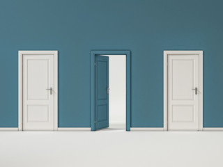 Blue and White Doors on Blue Wall, Illustration Business Door