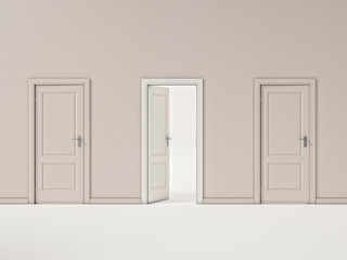 White Door on Beige Wall, Illustration Business Door