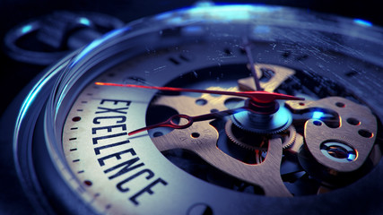 Excellence on Pocket Watch Face. Time Concept.