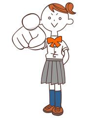 指を差す女子学生(夏服)