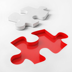 3d Puzzle on White Background, Red and White Puzzl