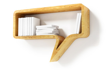 Wooden Bookshelf in the Form of speech bubble Isolated