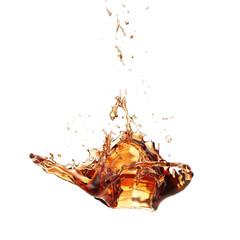 Ice Tea Splash Isolated on White Background, Abstract Shape
