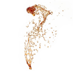 Ice Tea Splash Isolated on White Background, Abstract Shape