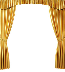 Golden Curtain on White Background