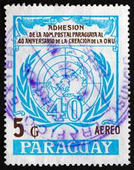 Postage stamp Paraguay 1986 UN Emblem