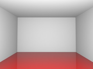 3D exhibition room red red reflectionh floor