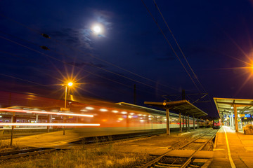 German night train departing from Offenburg station