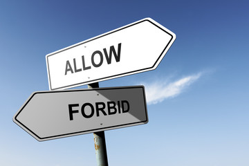 Allow and Forbid directions. Opposite traffic sign.