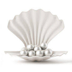 3d White Shell with pearls isolated on white background