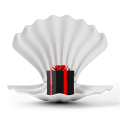 3d White Shell with Black Gift Box isolated on white background