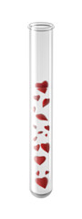 Glass Test Tube with Hearts, isolated on White Background
