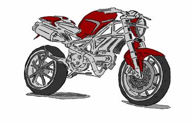motocicletta su sfondo bianco