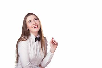 girl looks at a company logo