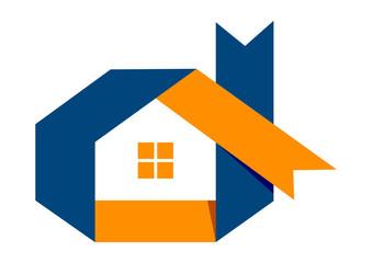 Logo real estate ribbon solution abstrac Home