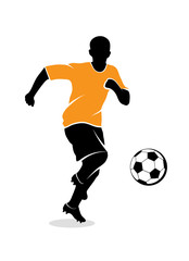 Footballer on the white background