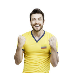Colombian soccer player celebrates on white background