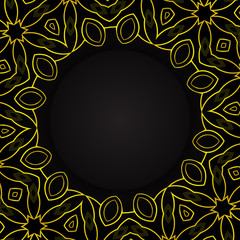 Black circle with golden ornaments