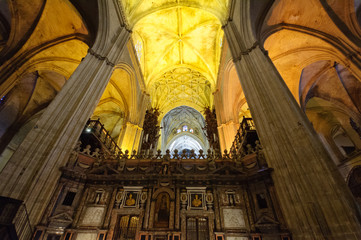 The cathedral in Sevilla, Spain