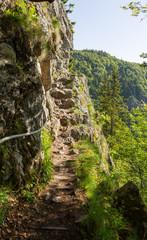 Sentier escarpé dans les rochers