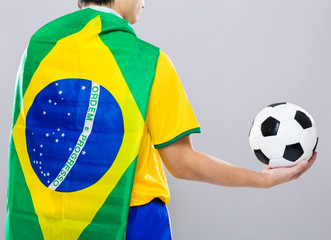 Backview of football player wear with Brazil flag and hold footb