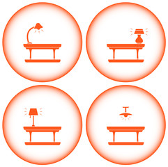set interior icons with table lamp