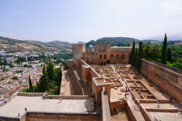 Alcazaba at the Palacio de la Alhambra in Granada, Spain